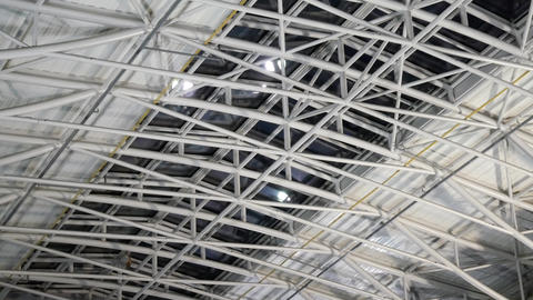 Large steel roof structure at warehouse GIF
