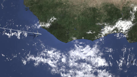 Airplane heading to Abidjan, Ivory coast from west on the map. Intro 3D GIF