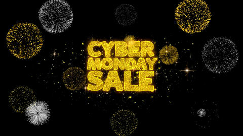 Cyber Monday Sale Golden Text Blinking Particles with Golden Fireworks Display Footage