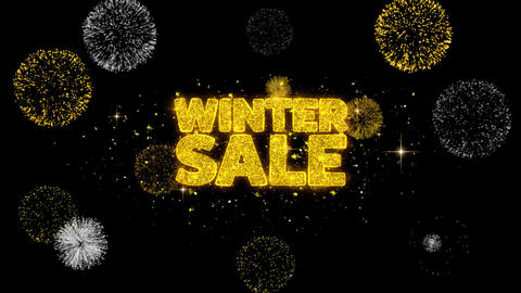 Winter Sale Golden Text Blinking Particles with Golden Fireworks Display Footage