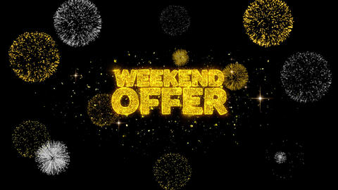 Weekend Offer Golden Text Blinking Particles with Golden Fireworks Display Footage