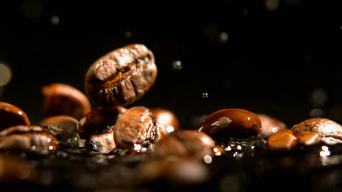 Roasted coffee beans falling on water 4k Live Action