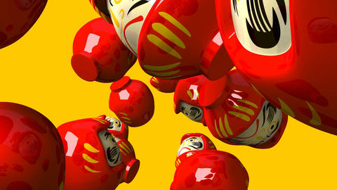 Red daruma dolls on yellow background CG動画