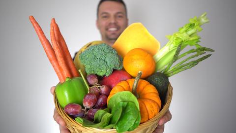 Businessman Offer Fresh Organic Fruits Healthy Natural Vegetables Basket Archivo