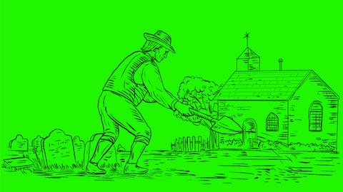Medieval Grave Digger Digging Drawing 2D Animation Animation