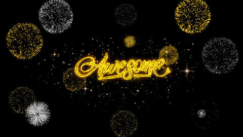 Awesome Golden Text Blinking Particles with Golden Fireworks Display Live Action