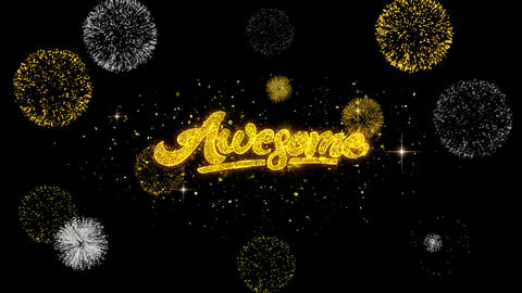 Awesome Golden Text Blinking Particles with Golden Fireworks Display Footage