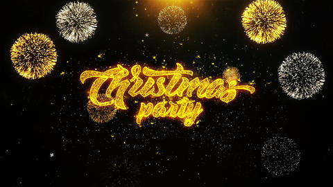 Christmas Party Wishes Greetings card, Invitation, Celebration Firework Looped Footage
