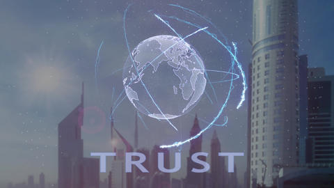 Trust text with 3d hologram of the planet Earth against the backdrop of the Footage