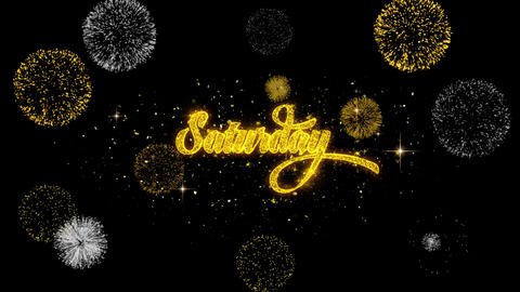 Saturday Golden Text Blinking Particles with Golden Fireworks Display Footage
