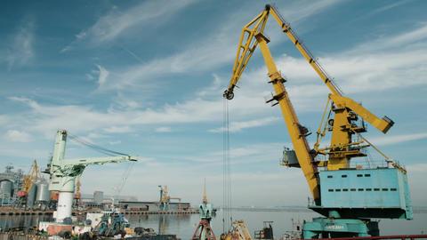 Port cranes are inactive Footage
