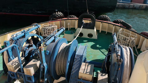 Detail of a powerful towing winch: the reel is equipped with thousands of meters Footage