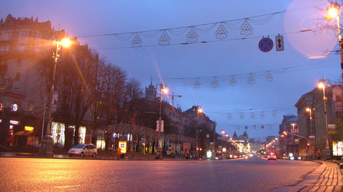 street dawn timelaple Kiev Khreshchatyk Archivo