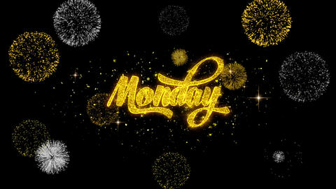 Monday Golden Text Blinking Particles with Golden Fireworks Display Footage