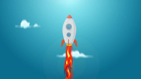 Rocket Ship Flying Through Space Animation Loop Animación