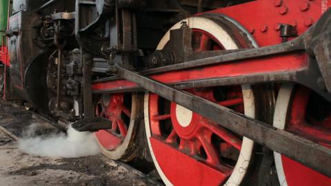 Old steam locomotive blows steam Live Action
