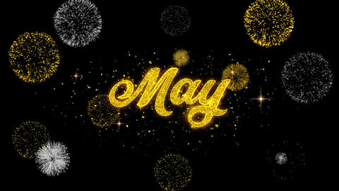 May Golden Text Blinking Particles with Golden Fireworks Display Live Action