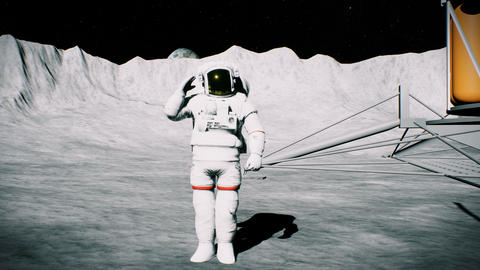 Astronaut on the moon in the crater near the lander salutes. 3D background Animation