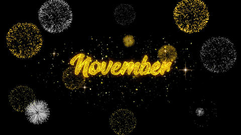 November Golden Text Blinking Particles with Golden Fireworks Display Footage