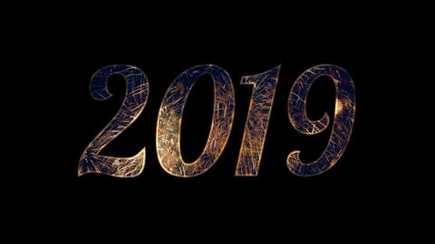 Gold firework celebration in 2019 text with alpha / transperant Animation