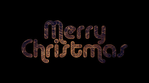 Fireworks In Merry Christmas text with alpha / transperancy Animation