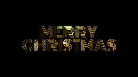 Merry Christmas text with gold fireworks for celebrate with alpha / transperant Animation