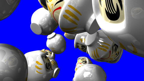 White daruma dolls on blue chroma key Animation