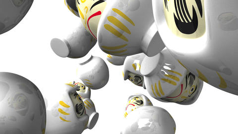White daruma dolls on white background Animation