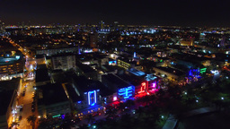 MIAMI BEACH – FEBRUARY 2016: Night aerial view of Ocean Drive. This is a stree Footage
