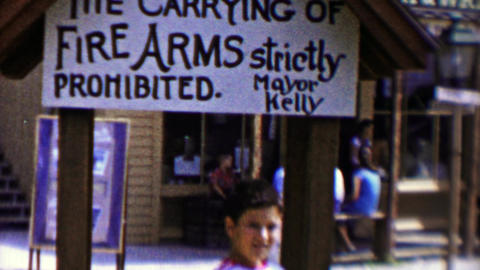 1959: Carrying of Firearms strictly prohibited sign by Mayor Kelly Footage