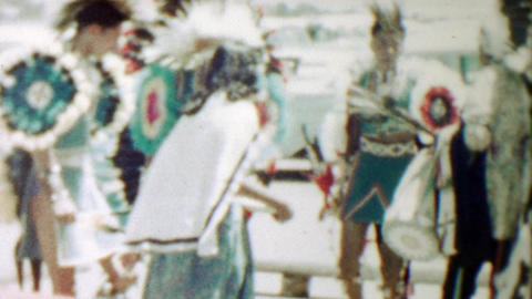1959: Native American Indian dancers in traditional dress for tourists Footage