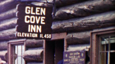 1959: Glen Cove Inn hotel wilderness log cabin high elevation 11,450 ビデオ