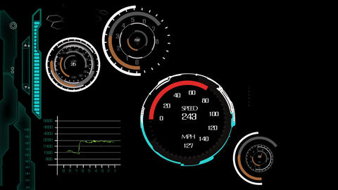 Science fiction hi-tech speedometer design element user interface After Effects Template