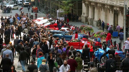 FERRARI CARS IN WALL STREET NEW YORK STOCK EXCHNAGE ON IPO DAY Footage