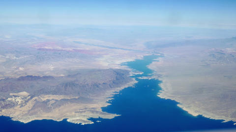 aerial view of mountains and large lake Footage