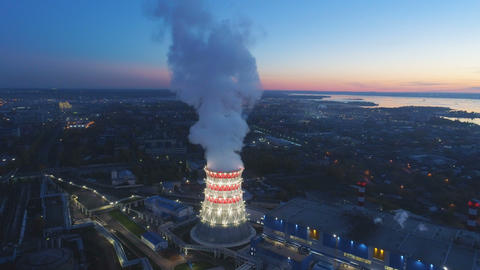panorama cooling tower at white light and rising steam cloud Footage