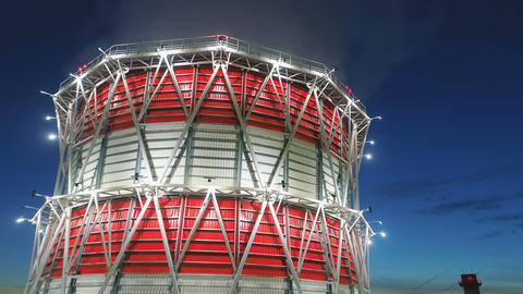 bird eye view cooling tower at led light and dawn above city ビデオ