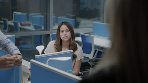 Female Boss Meeting And Talking To Young Employees In Office Live Action
