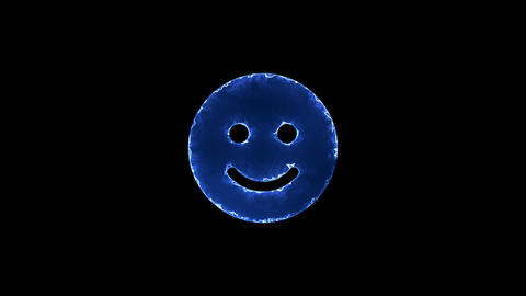 Symbol smile. Blue Electric Glow Storm. looped video. Alpha channel black Animation