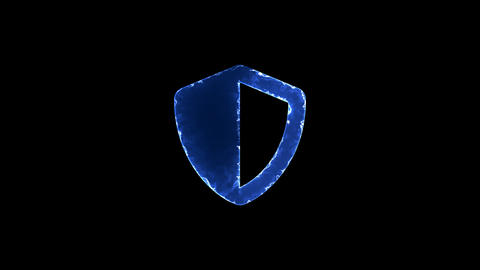 Symbol shield. Blue Electric Glow Storm. looped video. Alpha channel black Animation