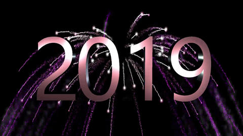 2019 Purple firework long, hd video Animation