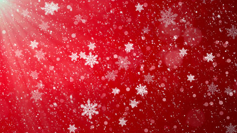Winter Christmas Background, Falling Red Left to Right Loop Background Footage