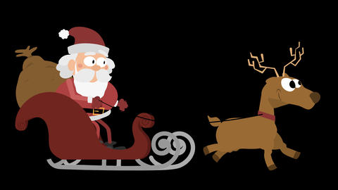 Santa Claus Animation Element 14 - with a reindeer on sleigh Animación