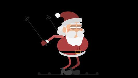 Santa Claus Animation Element 26 - skiing CG動画素材