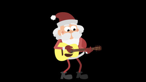 Santa Claus Animation Element 11 - playing the guitar CG動画素材