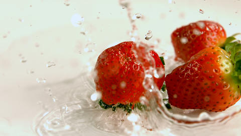 Strawberries falling on water against white background 4k Live Action