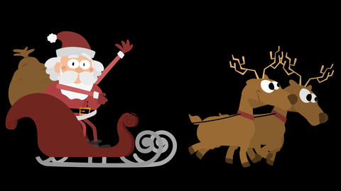 Santa Claus Animation Element 16 - with two reindeers and waving on sleigh CG動画素材