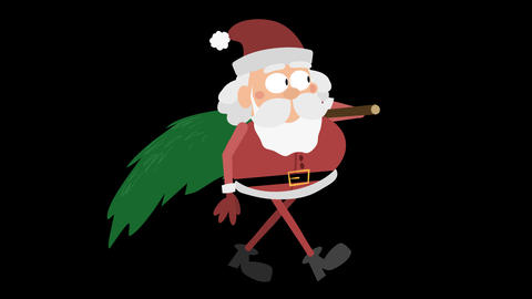 Santa Claus Animation Element 23 - carrying christmas tree Animation
