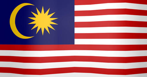 Waving Flag of Malaysia Looping Background Footage