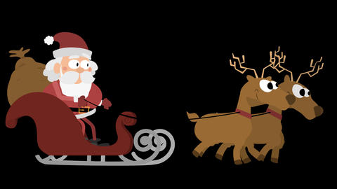 Santa Claus Animation Element 15 - with two reindeers on sleigh CG動画素材